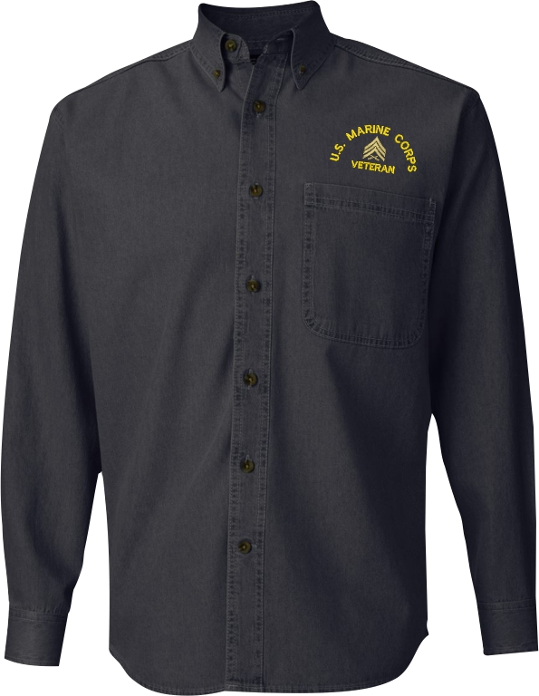 United states marine corps custom embroidered denim button for Custom long sleeve button down shirts
