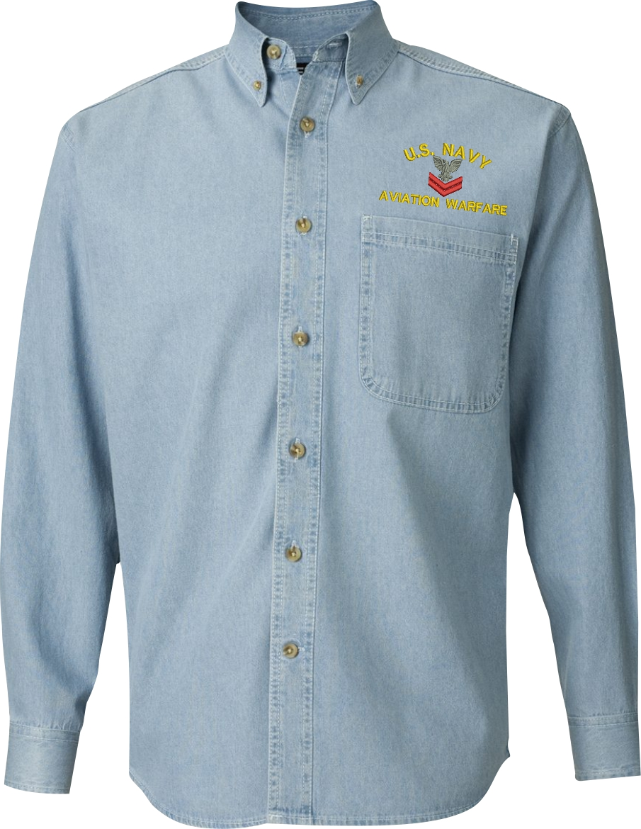 United states navy custom embroidered button down denim shirt for How to embroider a shirt