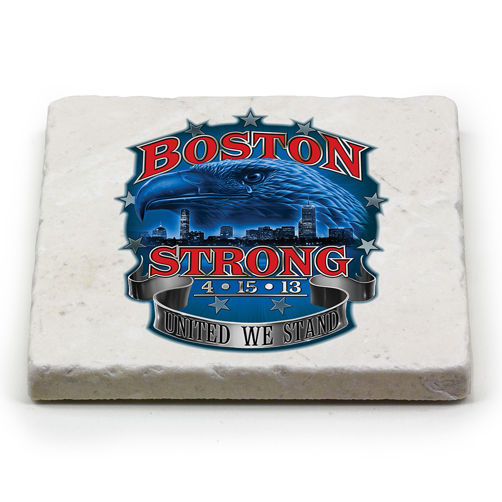 United We Stand Boston Strong Natural Stone Coasters