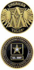 US Army Amercian Valor Gold Challenge Coin