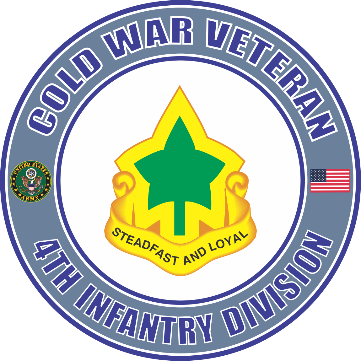Us Army Cold War 4th Infantry Division Unit Crest Veteran Decal