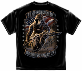 "U.S. Army ""RATHER DIE ON MY FEET"" Black T-Shirt"