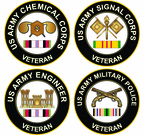 U.S. Army Round Veteran Decals with Ribbon