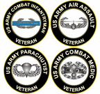 U.S. Army Veteran Combat Badge Decals