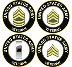 U.S. Army Veteran Rank Decals