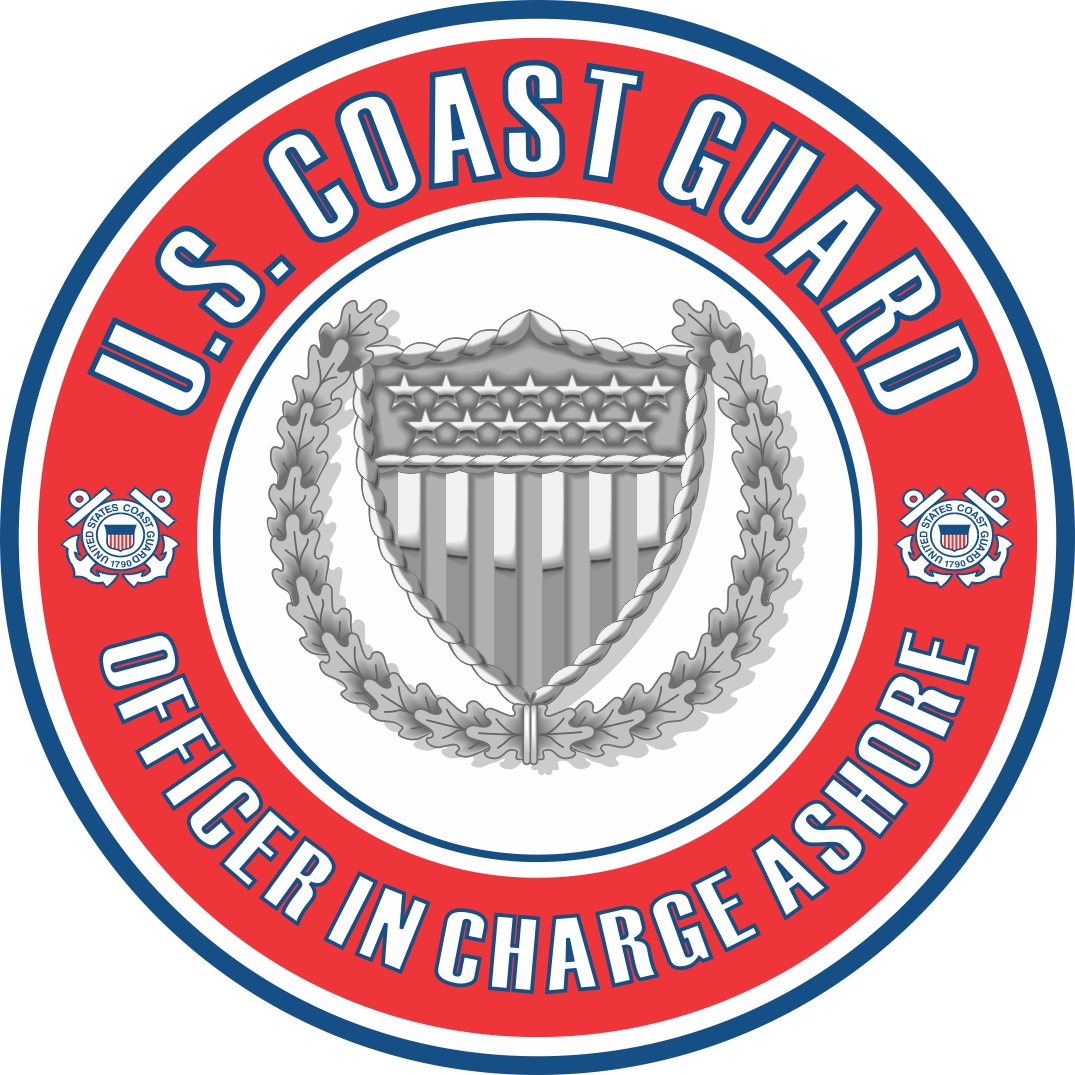 u s  coast guard officer in charge ashore badge decal