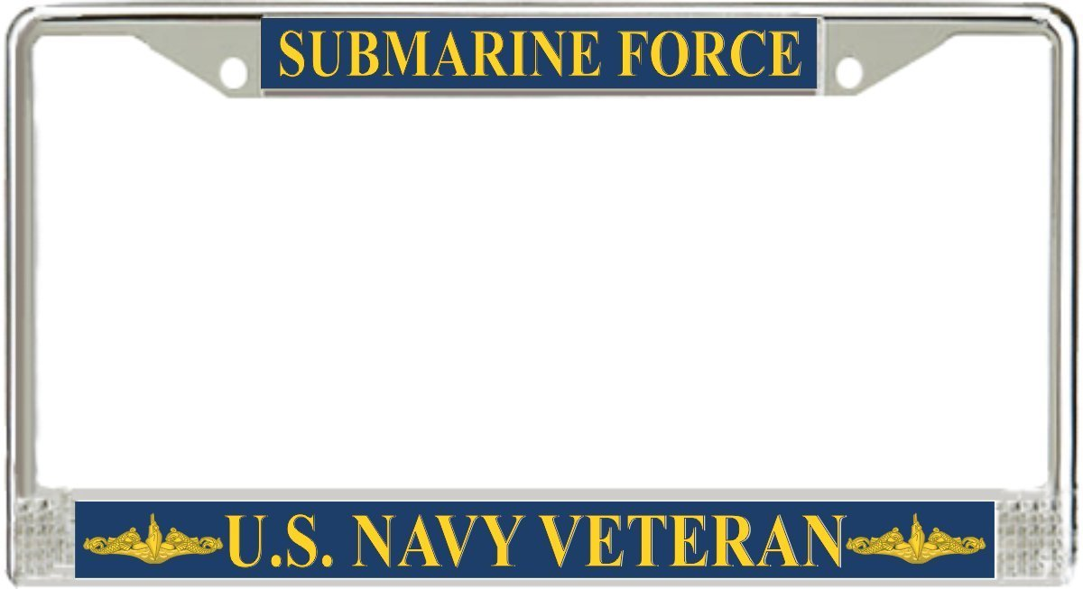 U.S. Navy Submarine Force Veteran Gold Dolphins License Plate Frame