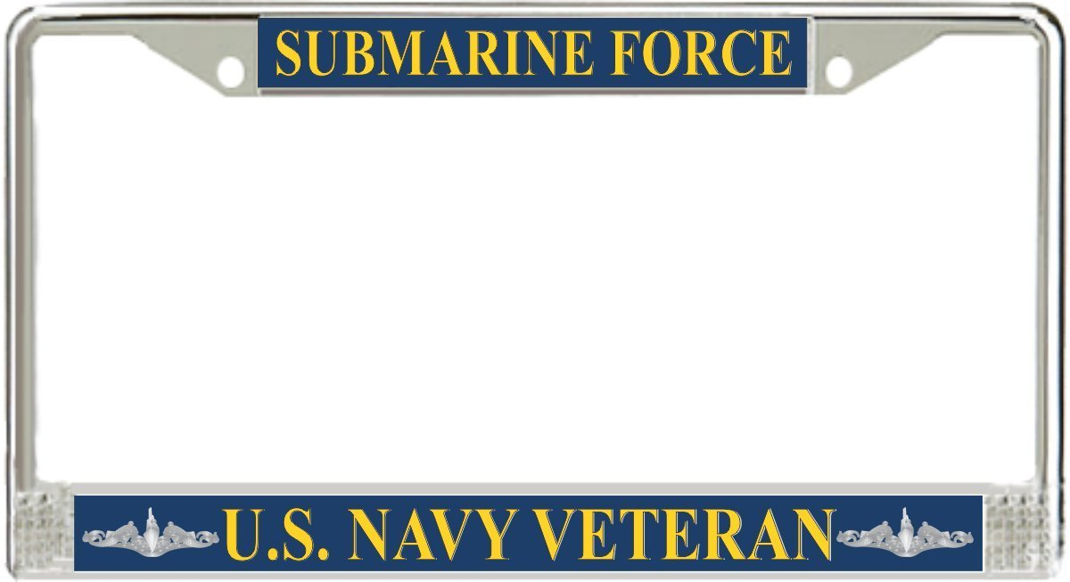 U.S. Navy Submarine Force Veteran Silver Dolphins License Plate Frame