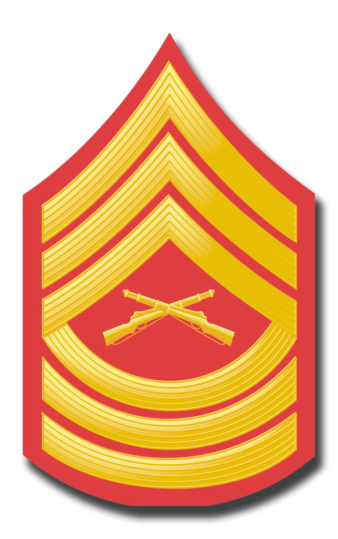USMC E-8 MASTER SERGEANT RED / GOLD CHEVRON DECAL