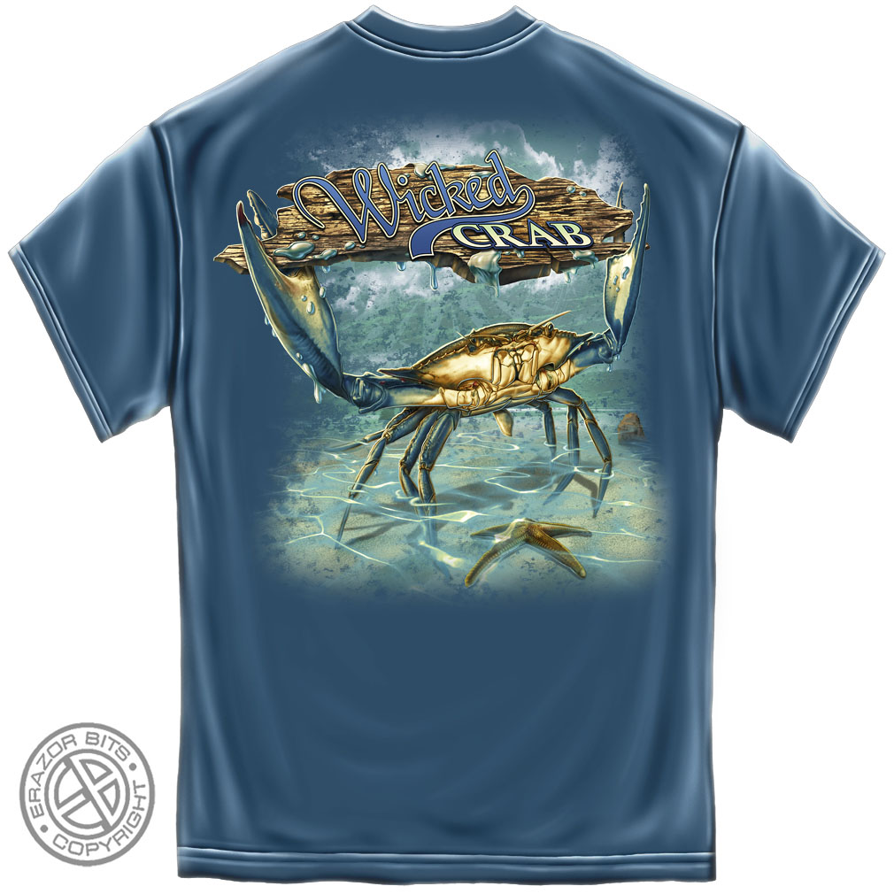 Wicked fish crab t shirt for Best fishing shirts