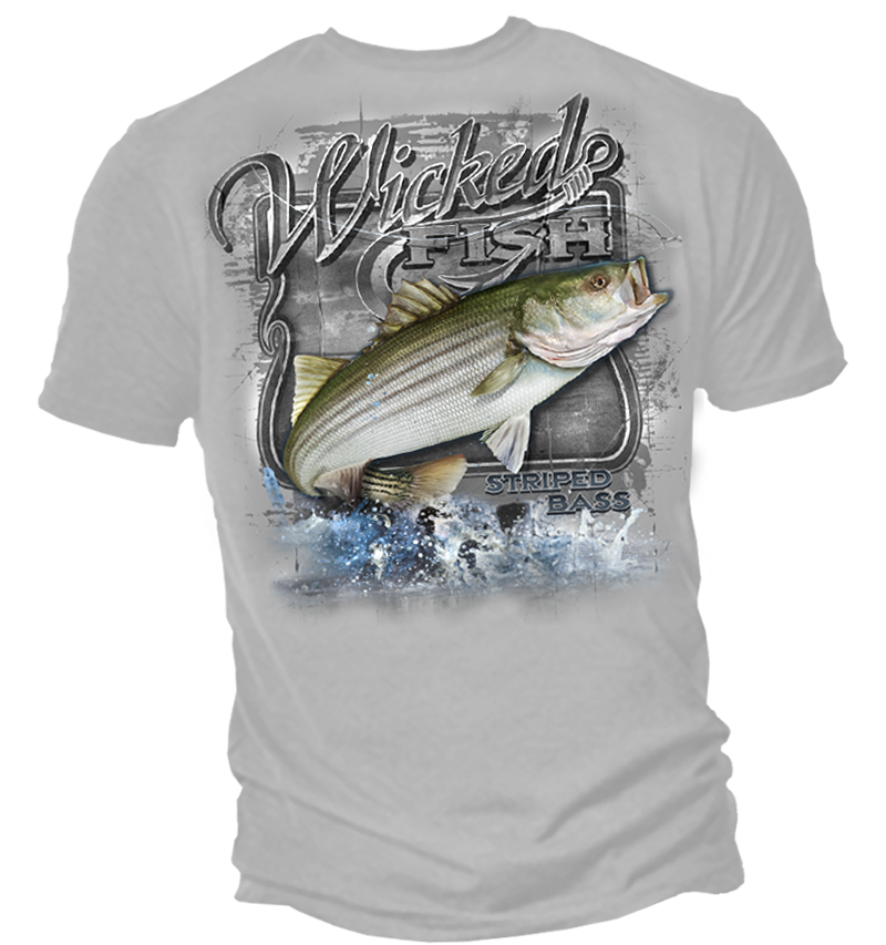 Wicked fish fighting striped bass t shirt for Bass fishing t shirts