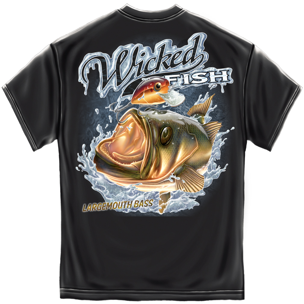 Best Military Branch >> Wicked Fish Large Mouth Bass Black T-Shirt