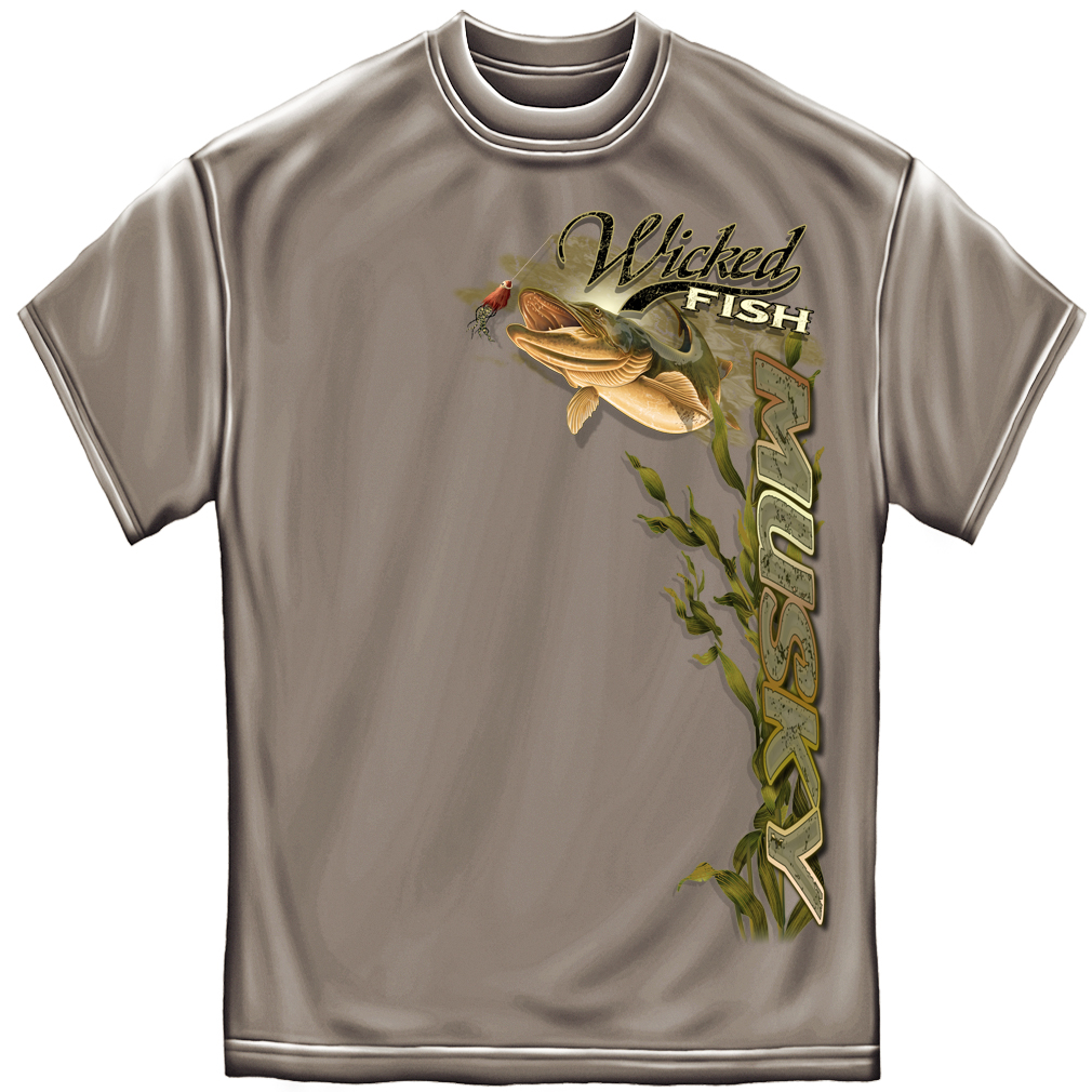 Wicked fish musky t shirt for Walmart fishing shirts