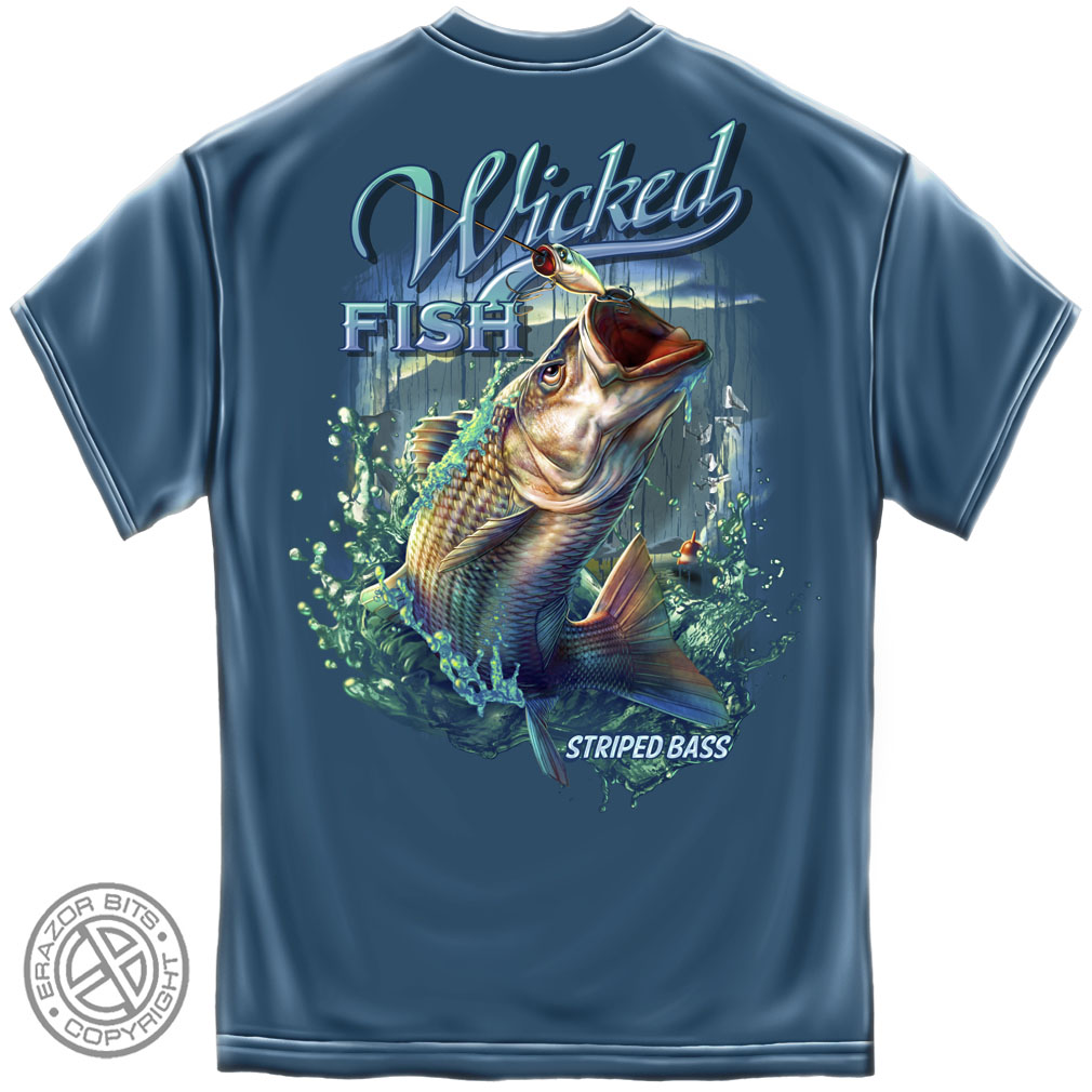 Wicked fish striped bass blue t shirt for Bass fishing shirt