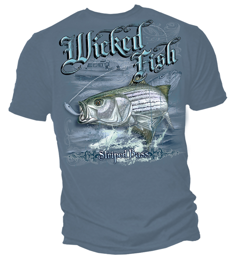 Wicked fish striped bass t shirt for Bass fishing t shirts