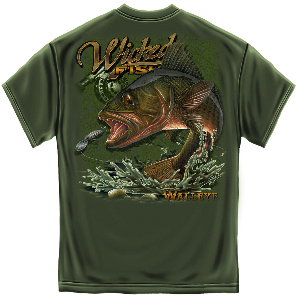 Wicked fish walleye t shirt for Fishing t shirts