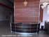 12' Curved Walnut Glass Top Reception Desk
