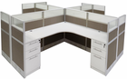 """12'W x 12'D x 48""""H Value Series Complete 4-Person Cluster Office Cubicle w/Files"""
