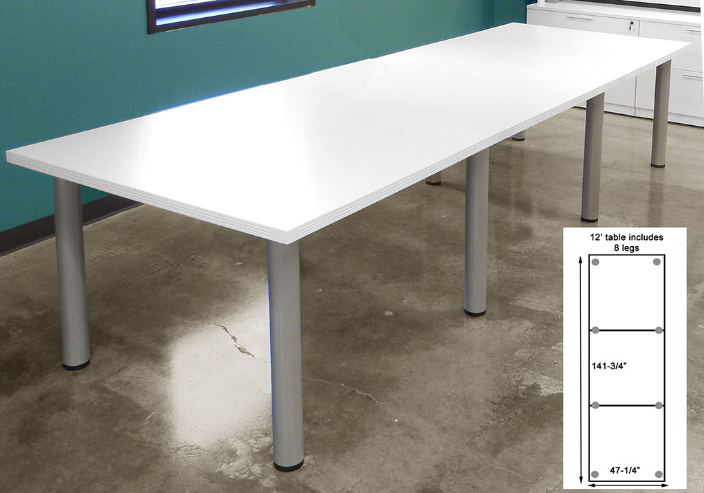 12 X 4 White Conference Table