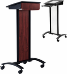2-in-1 Modern Mobile Lectern in Clear Polycarbonate or Mahogany