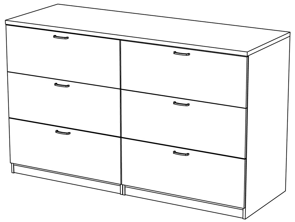 6 Drawer Lateral File Cabinet Symmetry Custom Two Person Workstation