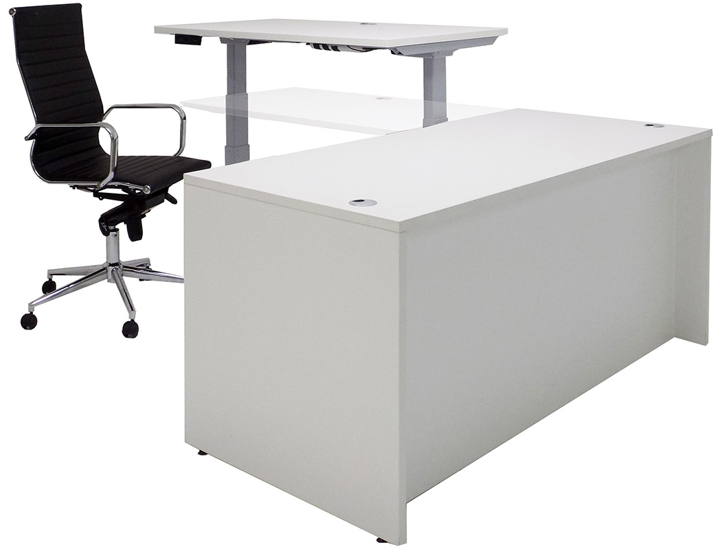 66 W Manager S L Desk Electric Lift Height Adjule Return
