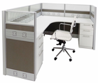 "72"" x 72"" x 48""H Premium Series Complete L-Shaped Cubicle w/Files - Starter Unit"