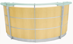8' Curved Maple Glass Top Reception Desk w/Mobile File