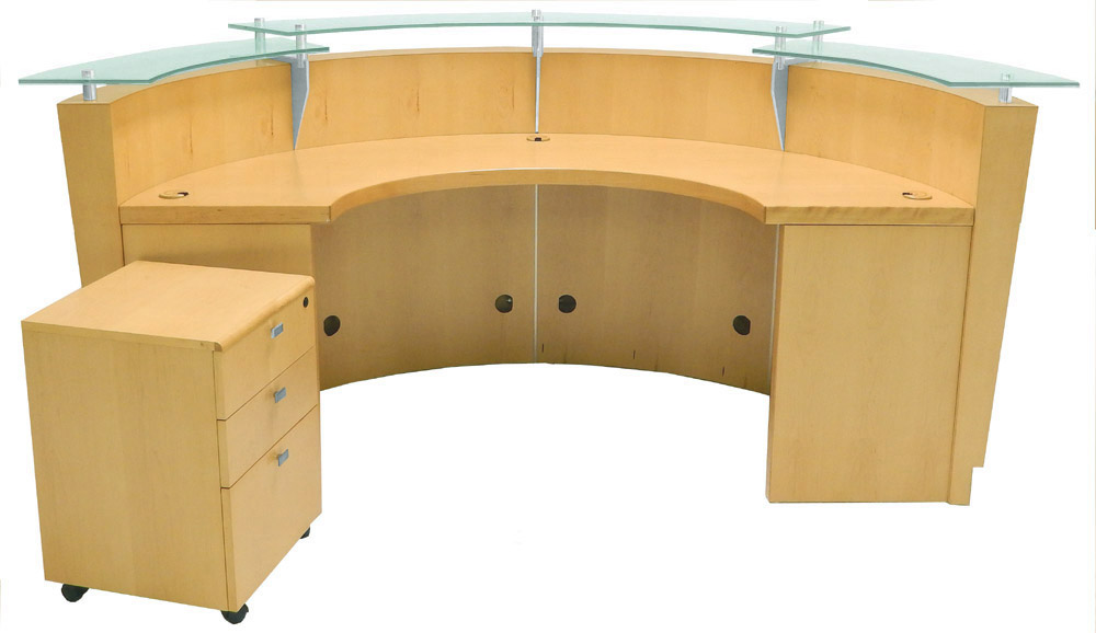8 Curved Maple Glass Top Reception Desk W Mobile File