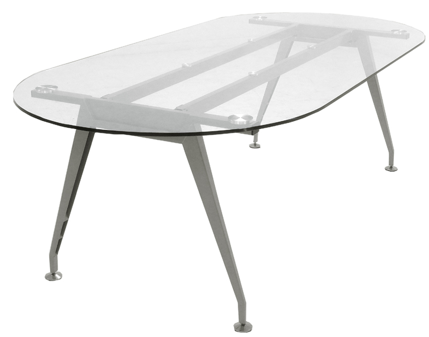8u0027 Oval Glass Conference Table