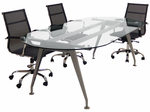 8' Oval Glass Conference Table