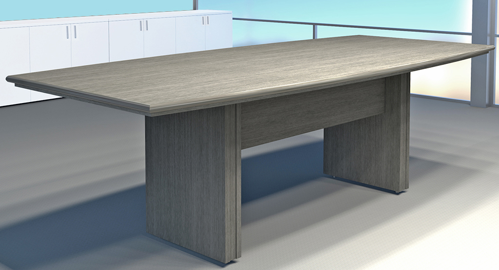 X Custom BoatShaped Meeting Table - Grey conference table