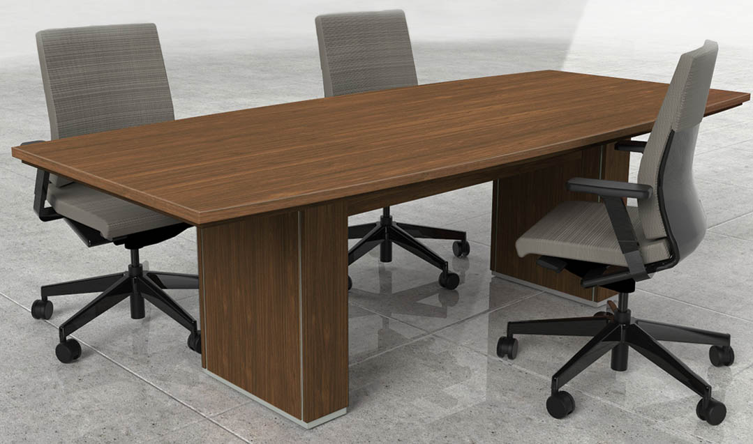 X Custom Modern BoatShaped Conference Table WCable Channel - 42 x 96 conference table