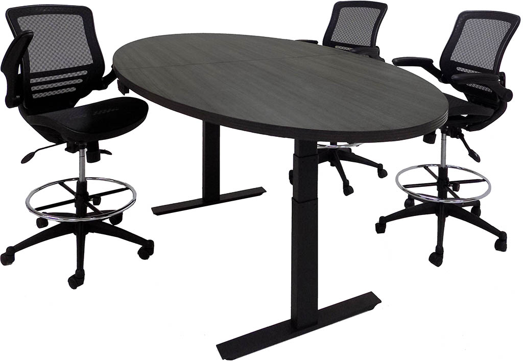 Adjustable Electric Lift X Oval Conference Table - Oval conference table for 8