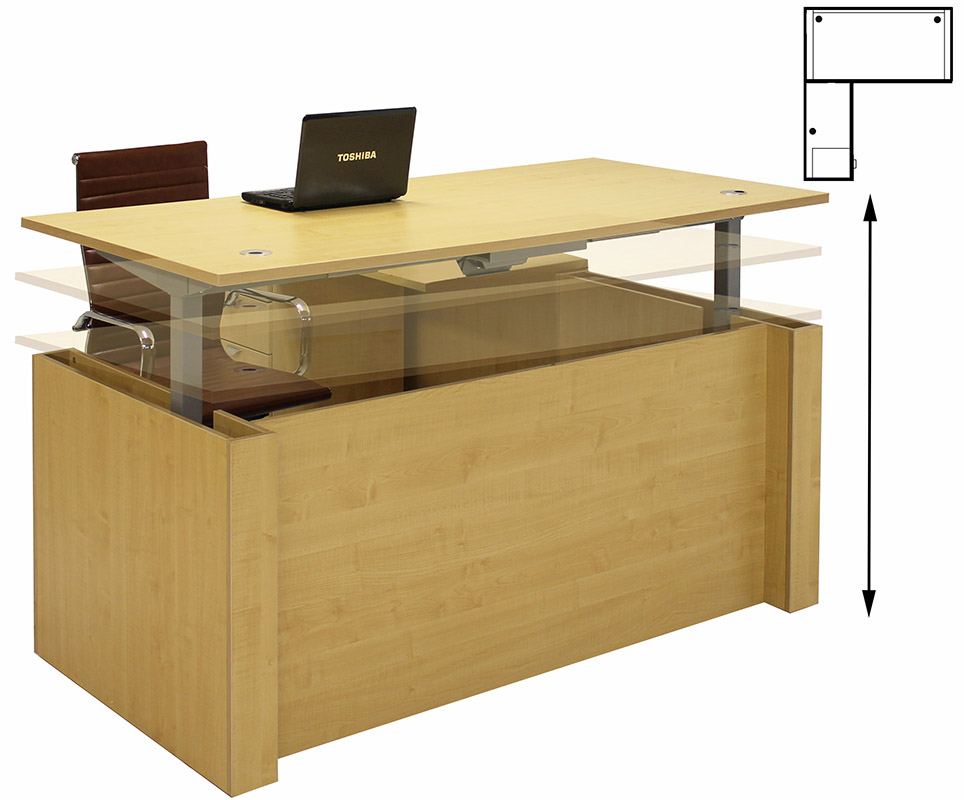 Adjustable Height L Shaped Executive Office Desk In Maple