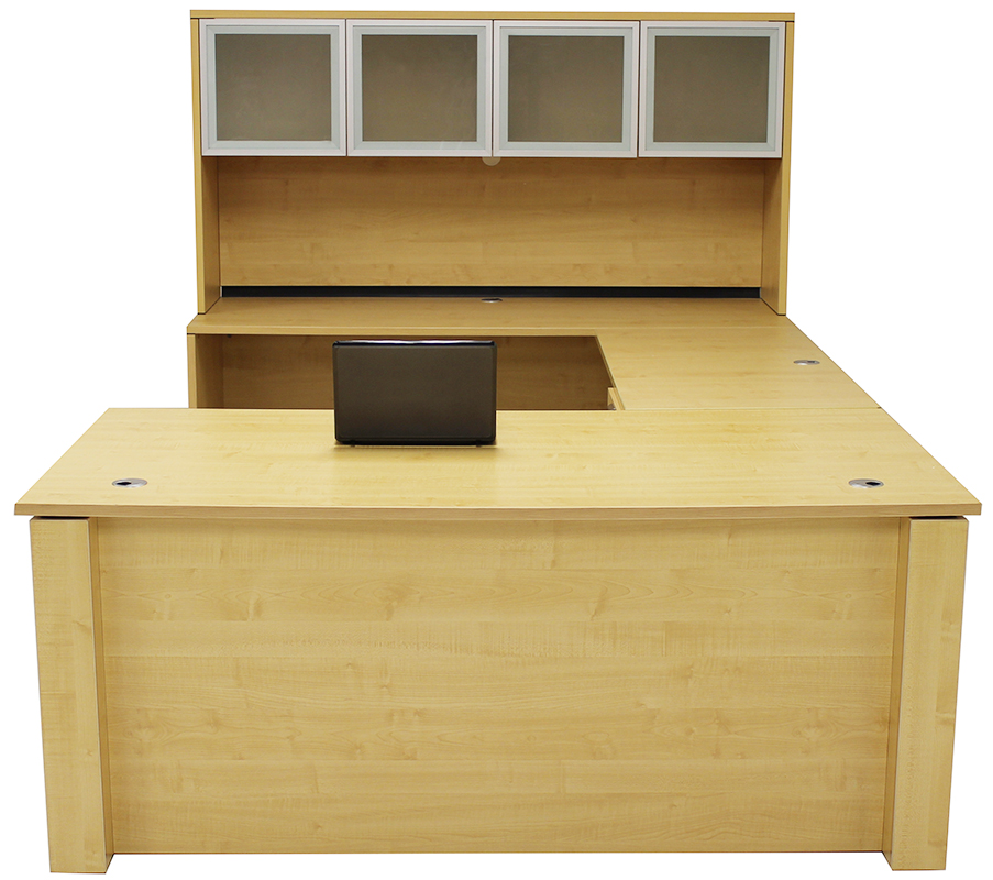Adjustable Height U Shaped Executive Office Desk W/Hutch In Maple