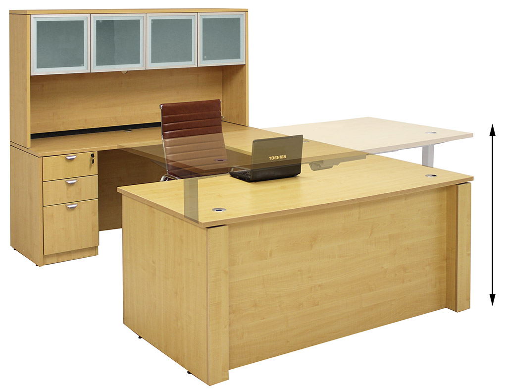 height u-shaped executive office desk w/hutch in maple