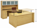 Adjustable Height U-Shaped Executive Office Desk w/Hutch in Maple