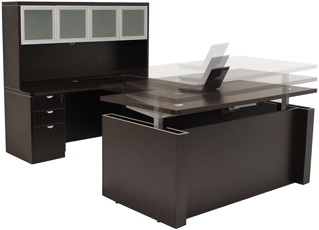 adjustable height u shaped executive office desk w hutch in mocha. Black Bedroom Furniture Sets. Home Design Ideas