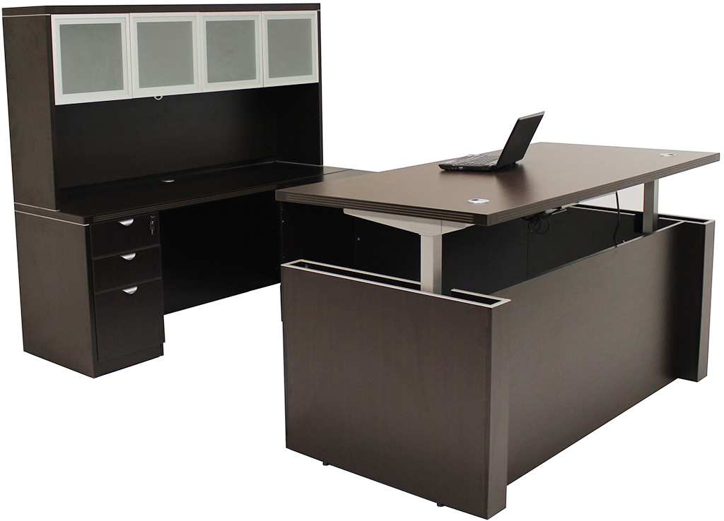 Adjustable Height U Shaped Executive Office Desk W/Hutch In Mocha