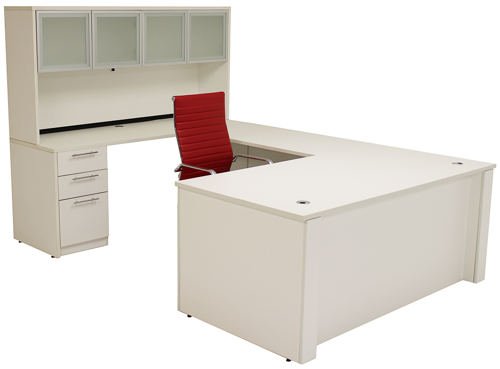 Adjustable Height U Shaped Executive Office Desk In White
