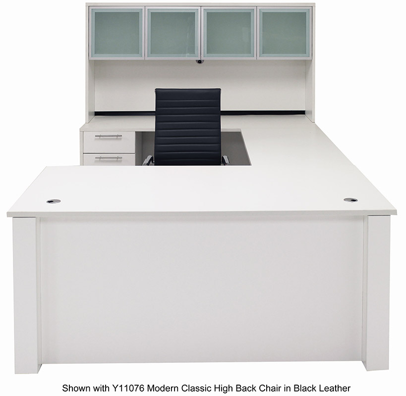 Height U-Shaped Executive Office Desk w/Hutch in White