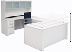 Adjustable Height U-Shaped Executive Office Desk w/Hutch in White
