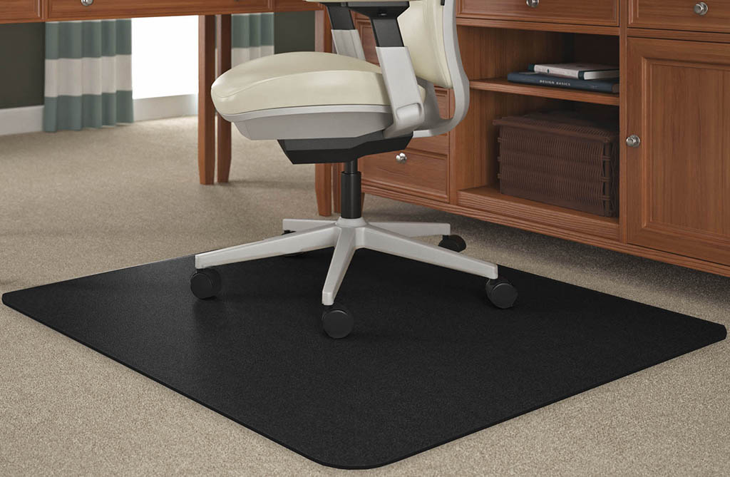 Black Chair Mats For Medium Pile Carpets X Rectangular - Computer chair mat for carpet
