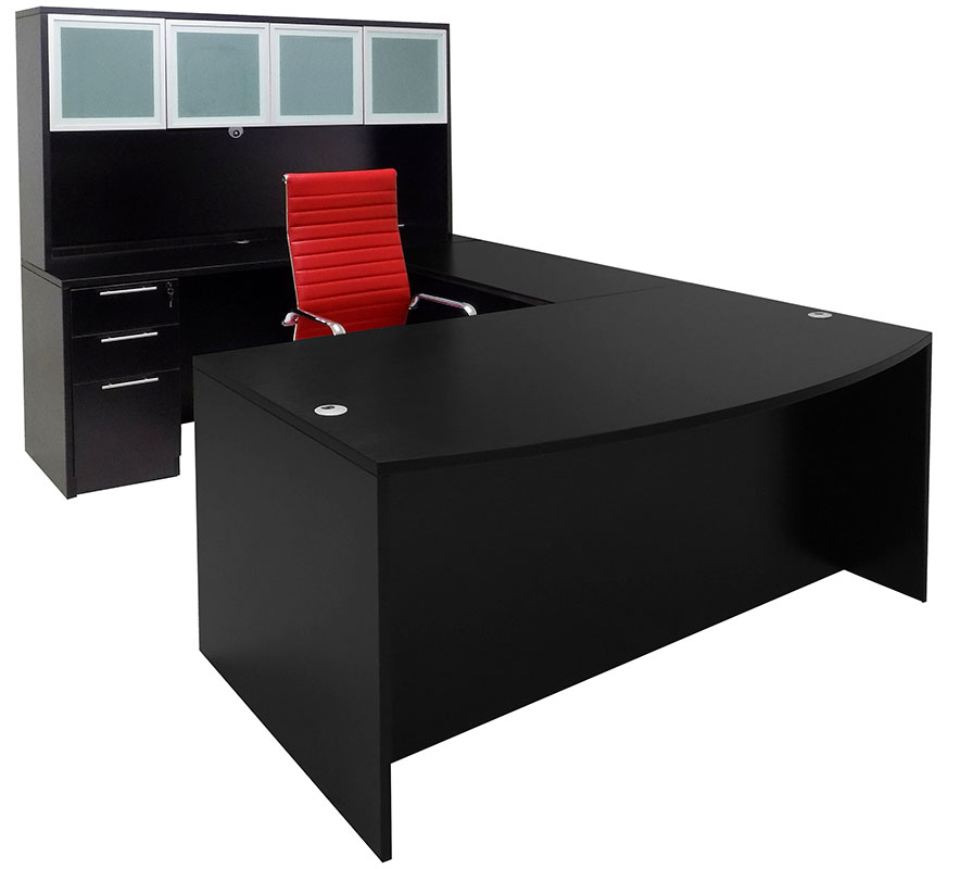 big sale c50e3 cdd92 Black Conference U-Shaped Office Desk with Hutch