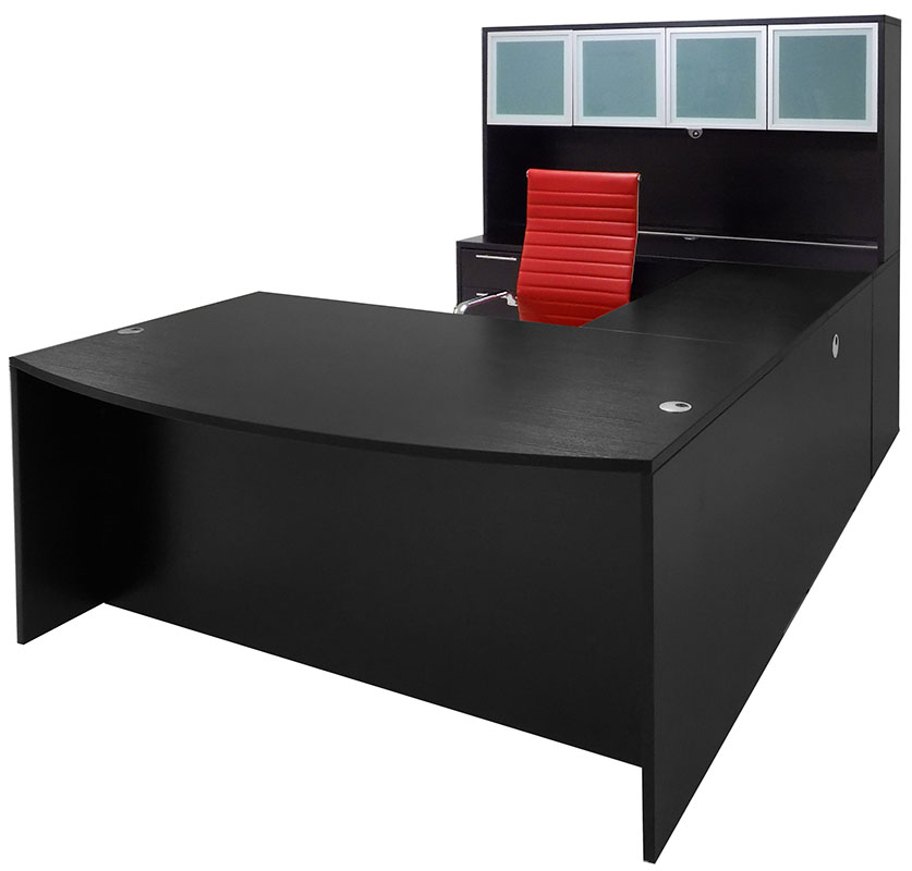 Black Conference U Shaped Office Desk With Hutch