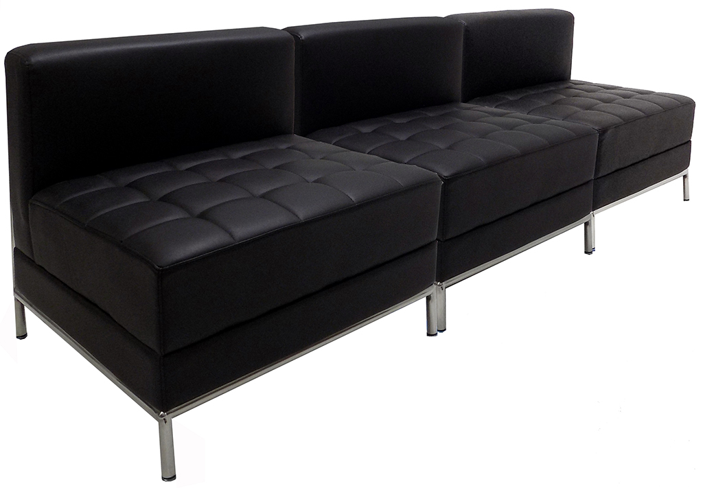 Black Tufted Modular 3 Seat Armless Sofa