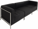 Black Tufted Modular 3-Seat Sofa