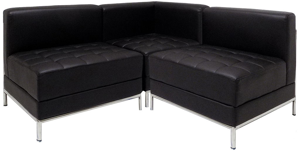 Black Tufted Modular L-Shaped Sofa