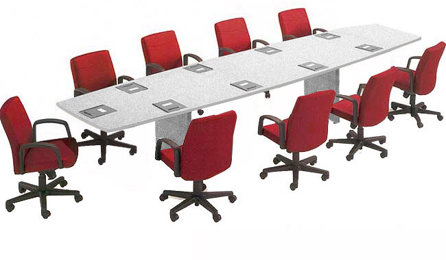 X Boat Shaped Conference Table WFolding Base Colors - Red conference table